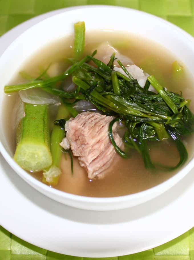 sinigang na baboy in a white bowl
