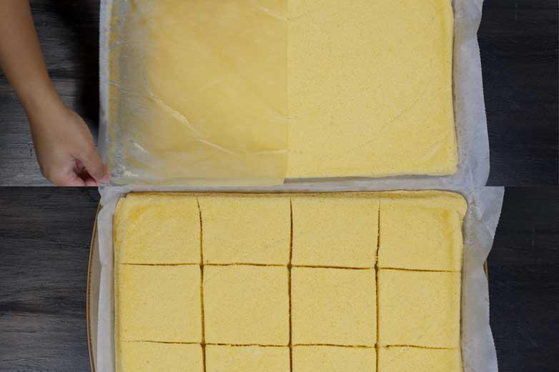 cutting the sponge cake