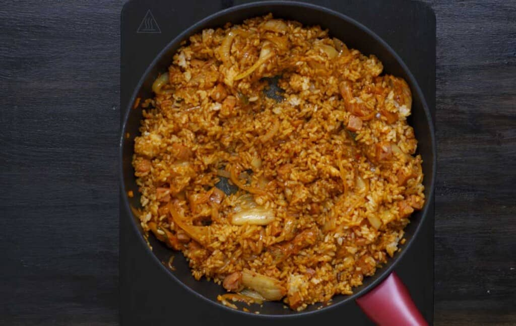 kimchi fried rice with spam