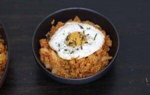 serve kimchi with egg and furikake