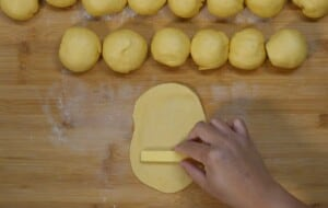 put a slice of cheese filling