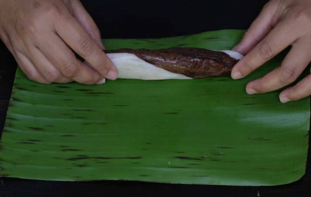 Wrap the mixture in banana leaves