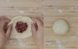 put the filling and shape