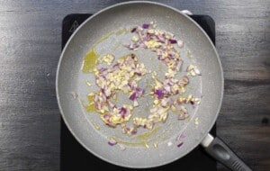 saute the onion and garlic