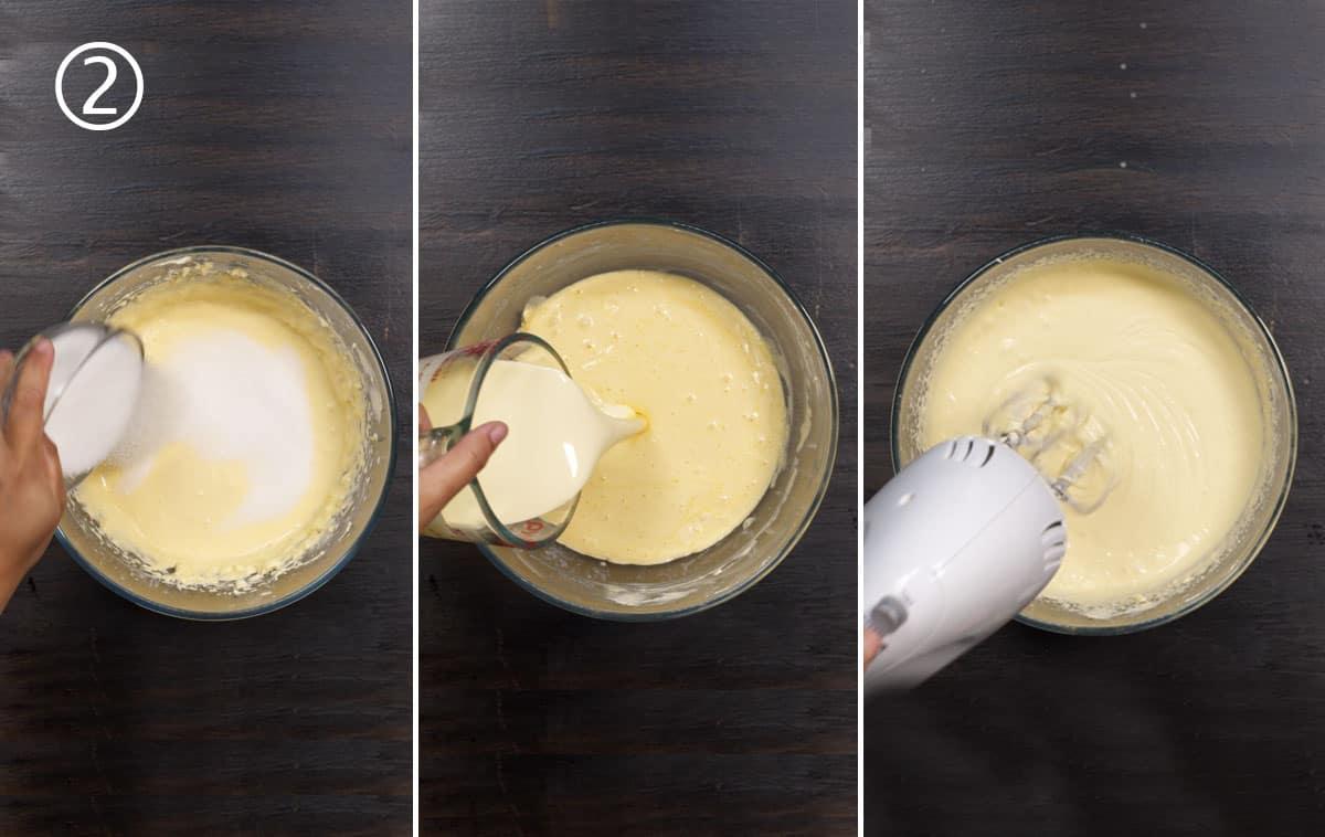 step 2 - sugar and cream