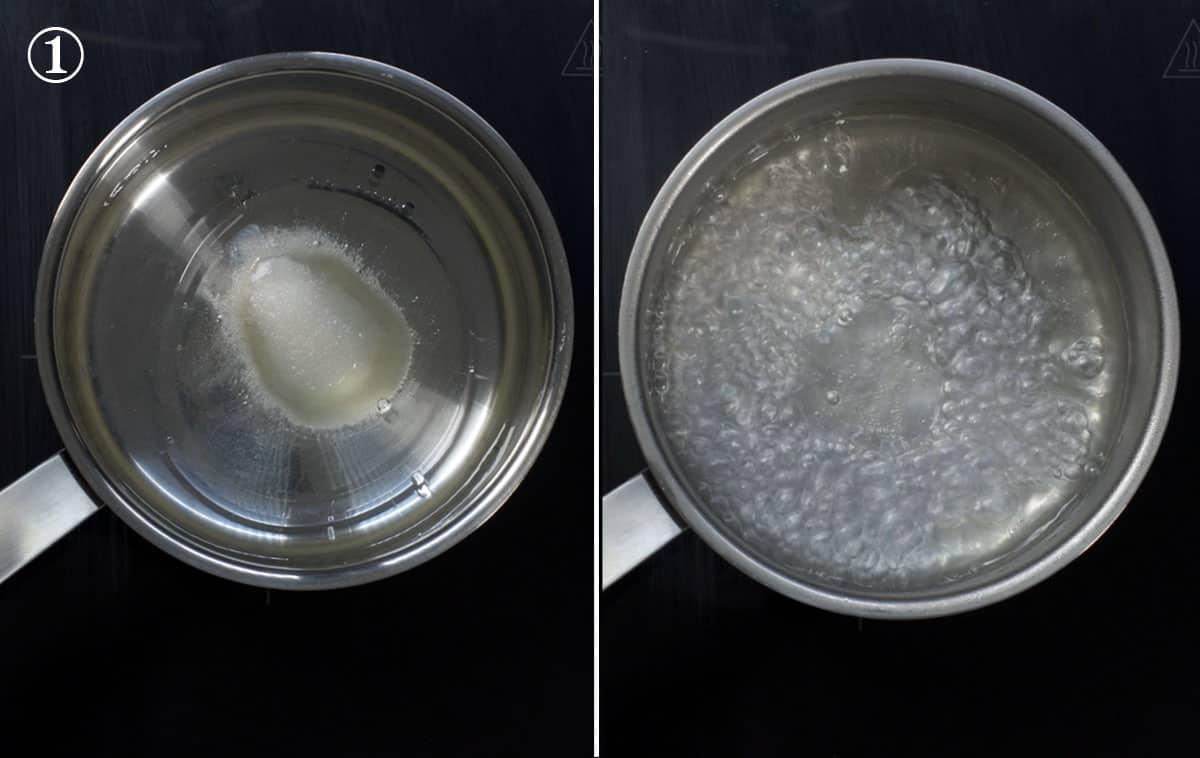 step 1 melt the sugar