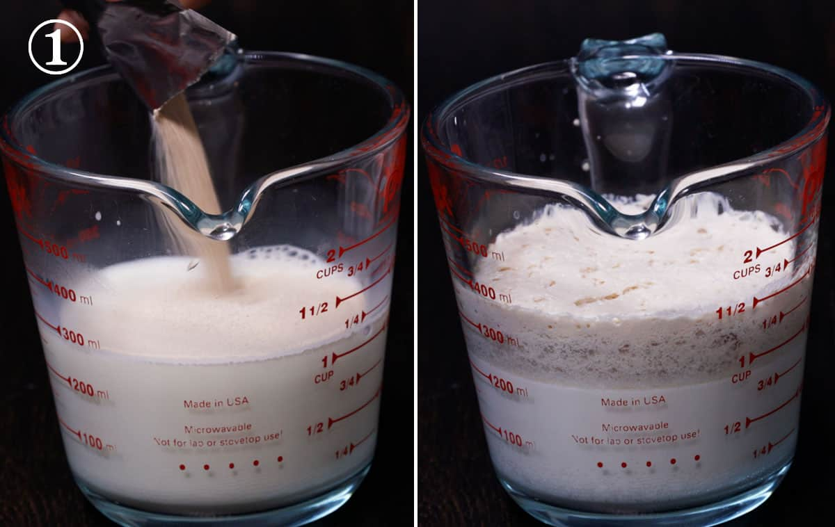 Step 1 milk and yeast